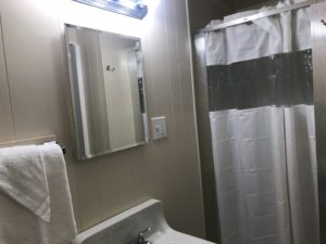 Bath towels and shower curtains