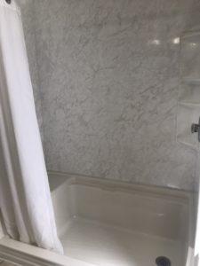 White shower flooring